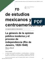 13 La génesis de la opinion pública moderna y el proceso de independencia (Rio de Janeiro, 1820-1840)
