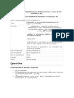 Questionário de Administração para Engenharia de  Segurança do Trabalho