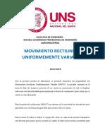 MOVIMIENTO RECTILINEO UNIFORMEMENTE VARIADO