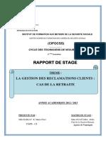 LA GESTION DES RECLAMATION CLIENTS CAS DE LA RETRAITE