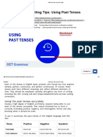 Past Tense Tips in an OET Letter