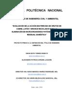 evaluacion de la accion batericida de virutas de cobre, laton y bronce reciclados para la eliminacion de microorganismos