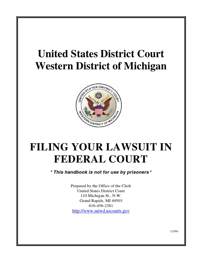 Pro Se Handbook Fed Court Discovery Law Lawsuit