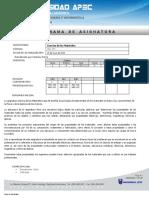 Programa  TEC-174  Ciencias de los materiales por competencias