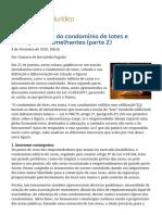 ConJur - Caracterização do condomínio de lotes e distinção de semelhantes