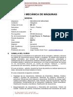SILABO DEL CURSO MECÁNICA DE MÁQUINAS