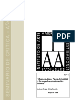 NOVICK, Alicia. Buenos Aires.Tipos de Hábitat y formas de estructuración urbana. Seminario de Critica año 1988
