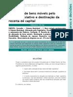 ALIENAÇÃO DE BENS MÓVEIS PELO LEGISLATIVO E DESTINAÇÃO DA REC. DE CAPITAL