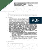 Protocolo para la limpieza, desinfección de superficies y reducción del riesgo de propagación del COVID-19