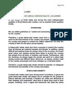 QUALITIES OF GREAT DEMOCRATIC LEADERS