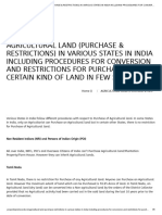 AGRICULTURAL LAND (PURCHASE & RESTRICTIONS) IN VARIOUS STATES IN INDIA INCLUDING PROCEDURES FOR CONVERSION AND RESTRICTIONS FOR PURCHASE OF CERTAIN KIND OF LAND IN FEW STATES _ Property Land Records
