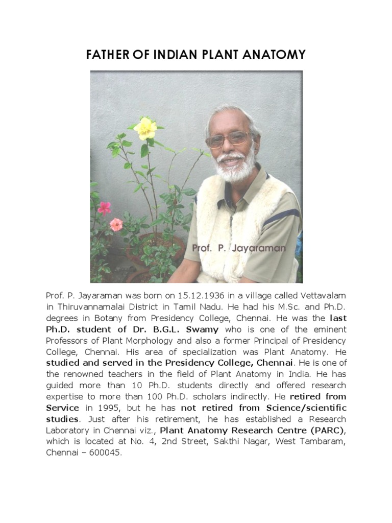 Father of Indian Plant Anatomy | Doctor Of Philosophy | Botany