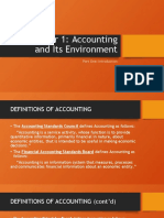 Chapter 1 Accounting and Its Environment