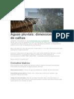 Águas pluviais - Dimensionamento de calhas
