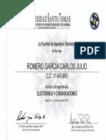 CERTIFICACIÓN CAPACITACION EN ELECTRONICA - U. SANTO TOMAS