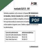 ELR 35 - 001 COMUNICADO ADMINISTRACION OBK - REPUBLICA