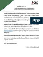 ELR 35 – 003 COMUNICADO CAMBIO CHAPA PUERTA PEATONAL
