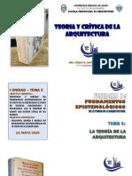 PRIMERA UNIDAD - TEMA 2 .- LA TEORIA DE LA ARQUITECTURA