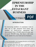 CHAPTER 3 ENTREPRENEURSHIP IN THE RESTAURANT BUSINESS