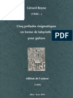 REYNE, Gérard • Cinq préludes énigmatiques en forme de labyrinthe (1989) (guitar music score) (+mp3)