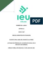 ACTIVIDAD DE APRENDIZAJE 2. ELABORACIÓN INICIAL DE UN PROYECTO DE INVERSIÓN.