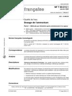 NF T 90-015-1 dosage de l'ammonium-méthode par titrimètrie aprés entrainement à la vapeur