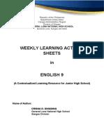 activity sheets - week 1