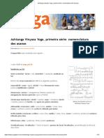 Ashtanga Vinyasa Yoga, primeira série_ nomenclatura dos asanas