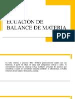 ECUACIÓN DE BALANCE DE MATERIA