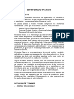 COSTEO DIRECTO O VARIABLE