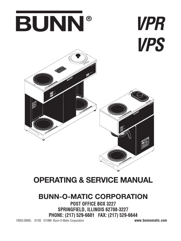 Bunn Vpr Coffee Maker Thermostat Troubleshooting Model Bx Wiring Diagram