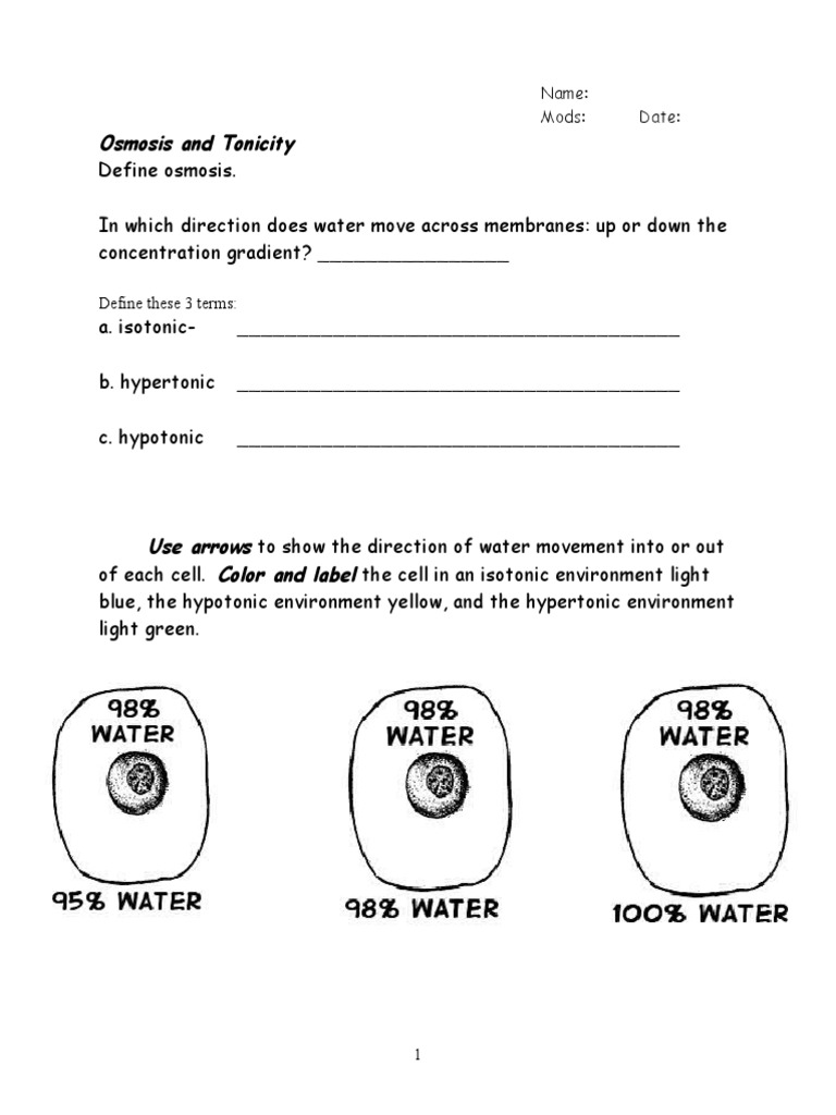 Osmosis and Tonicity Worksheet  PDF For Osmosis And Tonicity Worksheet