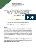 I2. DETERMINACIÓN EXPERIMENTAL DEL VECTOR RESULTANTE