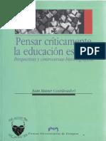Juan Mainer (coord), Pensar críticamente la educación escolar.pdf