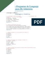 Banco De Preguntas de Lenguaje Para Examen De Admisión