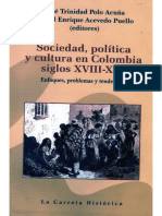 Capitulo de libro Sociedad, política y cultura en Colombia Siglos XVIII - XIX