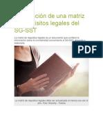 Elaboración de una matriz de requisitos legales del SG-SST