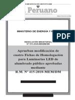 RESOLUCIÓN MINISTERIAL 015-2020 FICHA DE HOMOLOGACION DE LUMINARIA LED