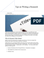 4 Important Tips on Writing a Research Paper Title