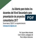Convocatoria Abierta para todos los docentes del Nivel Secundario para presentación de proyectos socio.docx