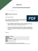 FORMATO No. 5 CERTIFICACIÓN ACEPTACIÓN ESPECIFICACIONES TÉCNICAS