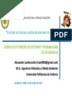 PERÍODO DE RETORNO EN OBRAS HIDRÁULICAS