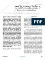 Extent of Principals' Involvement of Teachers in Decision-Making for Effective Administration of Secondary Schools in Anambra State