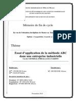 Essai d'application de la méthode ABC dans une entreprise industrielle