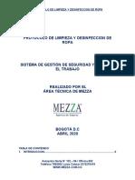 PR - PROTOCOLO DE LIMPIEZA Y DESINFECCION DE ROPA