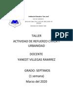 Actividad de refuerzo cívica y urbanidad grado séptimo