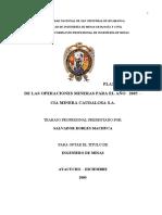 Planeamiento de las Operaciones Mineras para el año 2005, CIA. Minera Caudalosa S.A.
