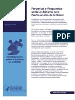 Preguntas y Respuestas Sobre El Autismo Para Profesionales de La Salud