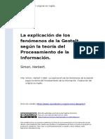 Simon, Herbert (1986). La explicacion de los fenomenos de la Gestalt segun la teoria del Procesamiento de la Informacion