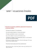 Taller – ecuaciones lineales